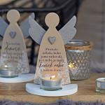 Anděl svícen latté 17 cm - Nebe v našem domě