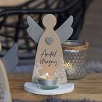 Anděl svícen latté 17 cm - Anděl strážný