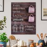 Dřevěný držák na hrníčky a sklenice - Víno a káva - hnědý