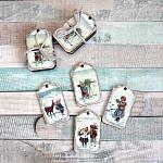 Vánoční visačky 4 ks - dřevěné - děti zimy