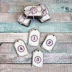 Adventní čísla na svíčky dřevěná - bílo - růžová