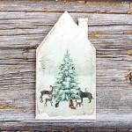 Dřevěná vánoční dekorace domeček 11 cm - stromeček