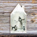 Dřevěná vánoční dekorace domeček 11 cm - sněhulák