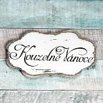 Dřevěná cedulka vintage 9 cm - Kouzelné Vánoce
