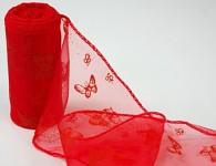 Organza stuha vzor - červená s motýly
