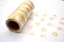 Organza stuha 15cm/9m - krémová se zlatými srdíčky