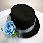 Cylindr černý s modrou kytkou