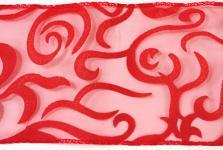 Organza stuha - červená vzor