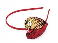 Čelenka s flitrovým srdcem - červeno-zlatá