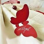 Motýlek - jmenovka, dekorace - červený