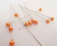 Špendlík  - oranžová perla malá - 1ks