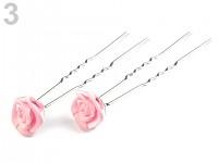 Stříbrné pérko s růžičkou - růžová