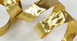 Stuha zlatá široká 40mm - lesklá - 1m