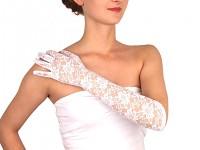 Krajkové společenské rukavice - bílé