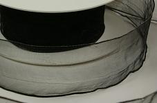 Stuha organza drát - černá - 1m