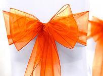 Organza stuha na židle oranžová  - půjčovna