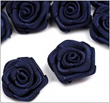 Saténové mini růžičky LUX - tm.modré