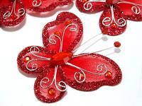 Motýl s kamínky  - červený