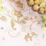 Organza šerpa - bílá se zlatým vzorem