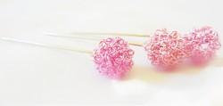 Špendlík  - drátěná kulička - růžová