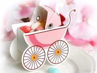 Dárková krabička - kočárek růžový