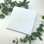 Svatební kniha hostů - koženková kávová perleť s ražbou ornamentů
