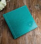 Svatební kniha hostů - koženková tyrkysová se srdíčky