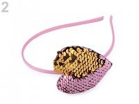 Čelenka s flitrovým srdce - růžovo-zlatá