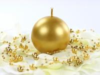 Svíčka koule - zlatá metalická 60mm