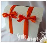 Svatební pokladnička - papírová - střední - oranž.stuha
