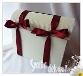 Svatební pokladnička - papírová - střední - bordo stuha