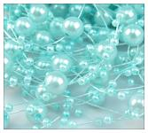 Perličky na silikonu - tyrkysové malé - 5ks
