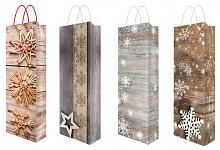 Vánoční dárková taška - podélná s glitry malá - mix