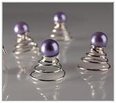 Fialová perlička do vlasů - na pružince