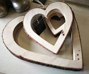 Srdce dřevo/kůra duté - 15 cm