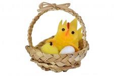 Kuřátka s vajíčkem v košíku s ouškem - 1ks