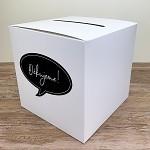 Krabička na peníze (přání) - bílá s černou bublinou s nápisem Děkujeme