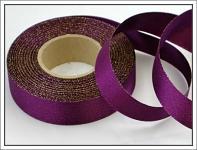 Stuha atlasová oboulící - fialová třpyt 24 mm-1m