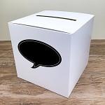 Krabička na peníze (přání) - bílá s černou bublinou bez nápisu