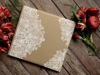 Svatební kniha hostů - natur s bílým ornamentem II.