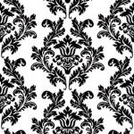 Ubrousky -  bílo - černý ornament