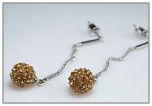 Náušnice - kulička s kamínky LONG - zlatožlutá