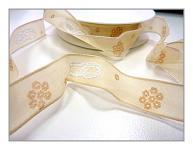 Stuha svatební - krémová s prstýnky - drát