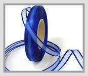 Šifonová stuha lemovaná - 10mm - tm.modrá -1m