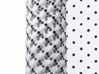 Tyl dekorační 15cm/9m - bílý s černými puntíky