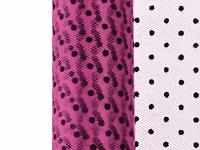 Tyl dekorační 15cm/9m - růžový s puntíky