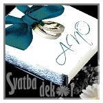 Čokoládka svatební mini - ANO s prstýnky TYRKYS