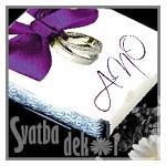 Čokoládka svatební mini - ANO s prstýnky FIALOVÁ