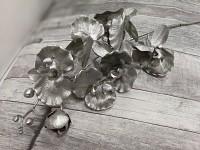 Orchidej větev 80 cm - metalická platinová