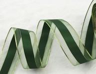 Stuha se třpytivým lemem - zelená 4cm - 1m